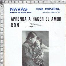 Outros: PROGRAMA CARTEL ESPECTACULO EROTICO-APRENDA A HACER EL AMOR CON BARBARA-CINE ESPAÑOL NAVÁS 1978.. Lote 47595505