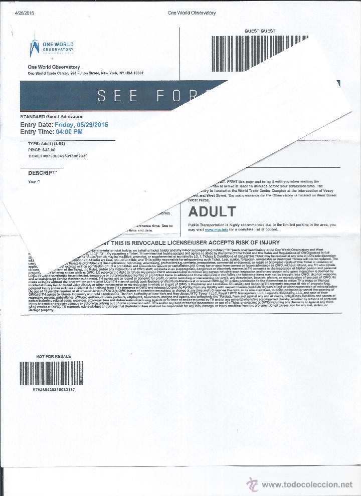 ENTRADA INAUGURACION TORRE ONE WORLD OBSERVATORY-NEW YORK (Coleccionismo para Adultos - Otros)