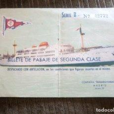 Otros: BARCO REY JAIME II. ANTIGUO BILLETE DE PASAJE. BUQUE. COMPAÑÍA TRANSMEDITERRANEA. AÑO 1957.. Lote 94931707