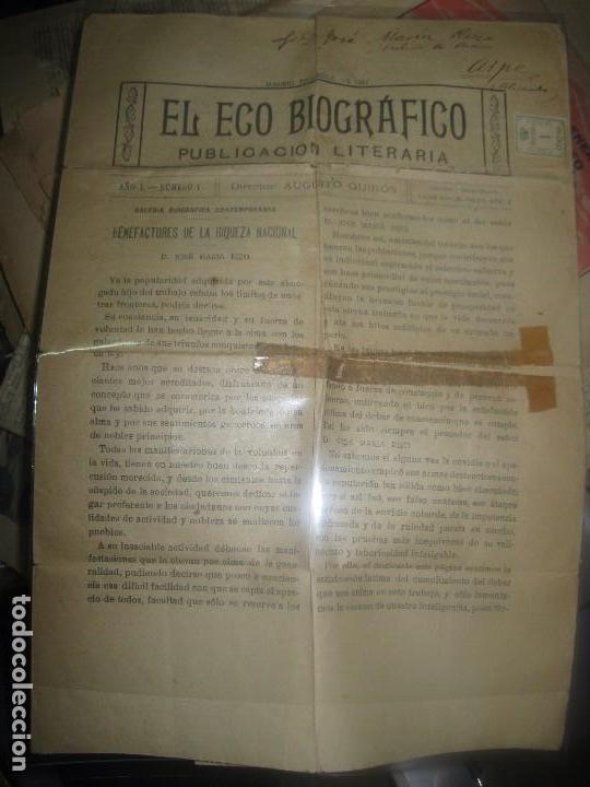 EL ECO BIOGRAFICO N 1 PERIODICO ANTIGUO MADRID 1922 JOSE RIZO MOLINO DE ASPE ALICANTE Y SELLLO (Coleccionismo para Adultos - Otros)