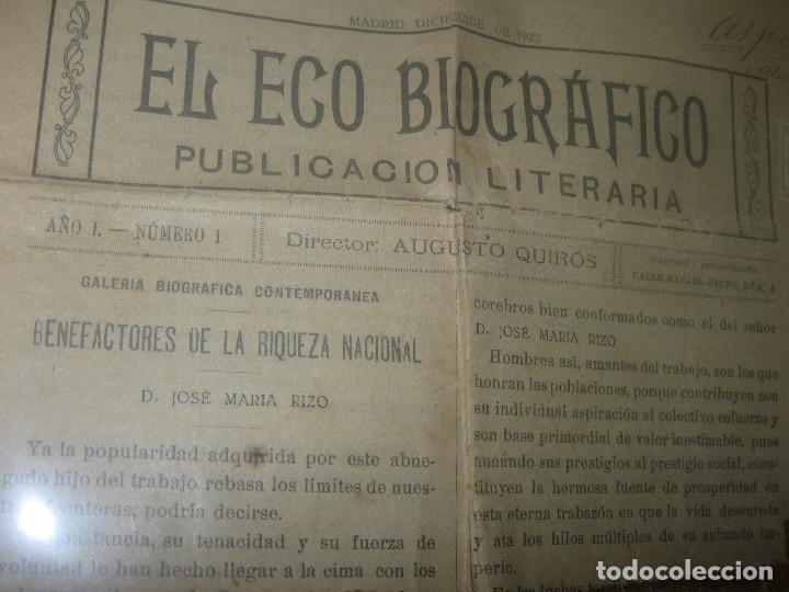 Otros: EL ECO BIOGRAFICO N 1 PERIODICO ANTIGUO MADRID 1922 JOSE RIZO MOLINO DE ASPE ALICANTE Y SELLLO - Foto 2 - 95842859