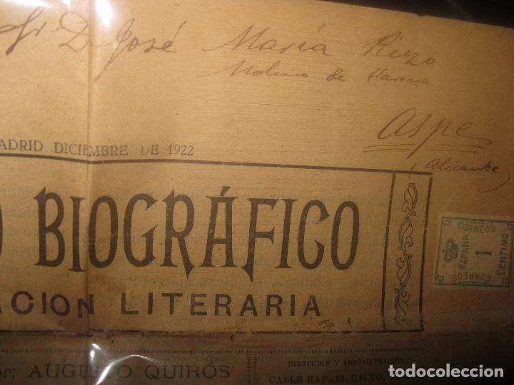 Otros: EL ECO BIOGRAFICO N 1 PERIODICO ANTIGUO MADRID 1922 JOSE RIZO MOLINO DE ASPE ALICANTE Y SELLLO - Foto 3 - 95842859