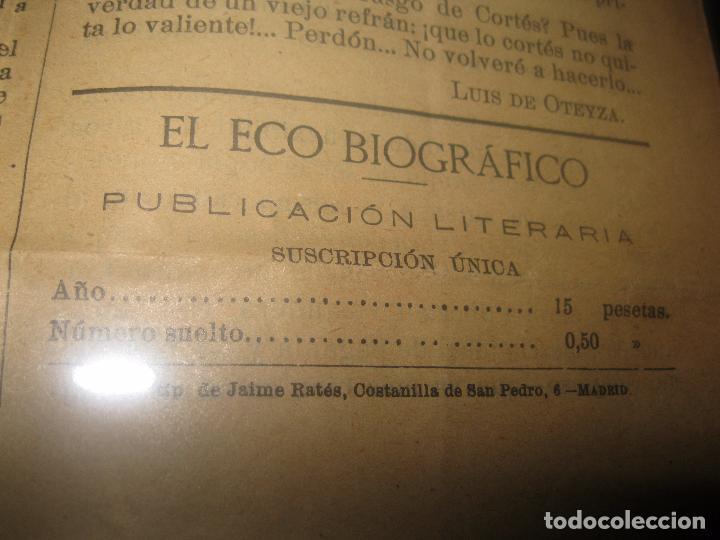 Otros: EL ECO BIOGRAFICO N 1 PERIODICO ANTIGUO MADRID 1922 JOSE RIZO MOLINO DE ASPE ALICANTE Y SELLLO - Foto 4 - 95842859