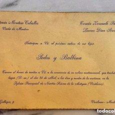 Otros: INVITACIÓN DE BODA EN VICÁLVARO (MADRID) 1962. Lote 99180891