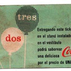 Otros: TICKET DE CARTÓN - COCACOLA.SABOREA UNA DELICIOSA COCACOLA POR EL PRECIO DE UNA PESETA. Lote 101163363
