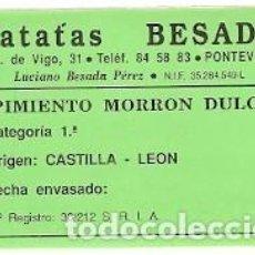 Otros: ADHESIVO. PATTAS BESADA. PONTEVEDRA. REF. 24ALI-63. Lote 197396968