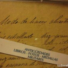 Otros: RECETA FORMULA VINO METODO DE HACER CHARTREUX RECETA ANCESTRAL ANTIGUA MANUSCRITA. Lote 121680251