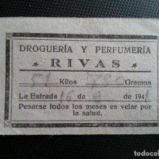 Otros: CARTÓN TICKET DE BASCULA, LA ESTRADA, DROGRERÍA Y PERFUMERÍA RIVAS, AÑO 1941 _MA. Lote 122741819