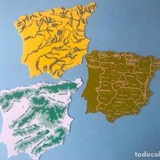 Otros: MAPA ESPAÑA PLANTILLAS REGIONES, RIOS, MONTAÑAS - 1970 - COLEGIO. Lote 175321084