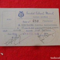 Otros: CARNET SOCIEDAD CULTURAL MUSICAL CASAS IBAÑEZ,FUNDADOR MILCIADES,AÑO 1949. Lote 135892202