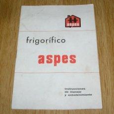 Otros: INSTRUCCIONES DE MANEJO Y ENTRETENIMIENTO FRIGORIFICO ASPES.. Lote 137256106