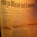 Otros: PERIODICO Nº 1 LA HOJA OFICIAL DEL LUNES BARCELONA GUERRA CIVIL 6 II 1939. Lote 137874926