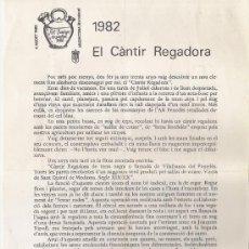 Otros: SNT. DOMINGO ARGENTONA .1982 *EL CANTIR REGADORA . Lote 146772858