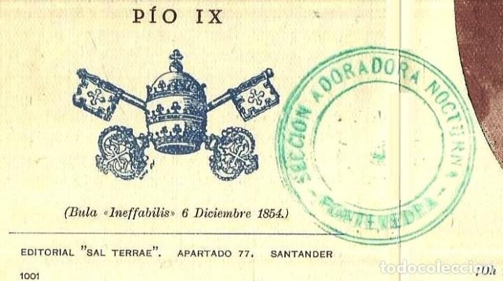Otros: ADORACION NOCTURNA PONTEVEDRA. AÑO 1954. CENTENARIO. ESTAMPA. TARJETA. MARIA INMACULADA. - Foto 3 - 148030098