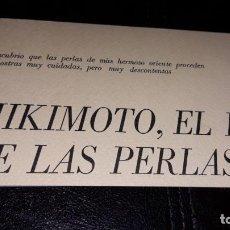 Otros: PEQUEÑO LIBRITO MIKIMOTO HISTORIA DE LAS PERLAS CULTIVADAS PRODUCCION OSTRAS JAPON AÑOS 70. Lote 157054930