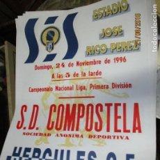 Otros: CARTEL ANTIGUO ORIGINAL FUTBOL SANTIAGO DE COMPOSTELA HERCULES ALICANTE 1997 65 X 45 CMS. Lote 159961210