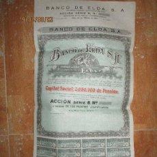 Otros: SERIE B AZUL ACCIONES PLIEGO GRANDE BANCO DE ELDA ALICANTE 1933 CAPITAL 3.000.000 PESETAS. Lote 161863996