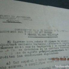 Otros: FRENTE DE JUVENTUDES ALICANTE FALANGE CONDICIONES NORMAS INGRESO EN ESCUELA MIGUEL BLASCO VILATELA. Lote 173071292