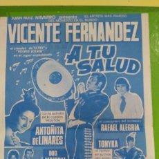 Otros: VICENTE FERNANDEZ 1976 PUBLICIDAD DE CONCIERTO BILBAO 1976 PINTADO POR DETRAS. Lote 174321014