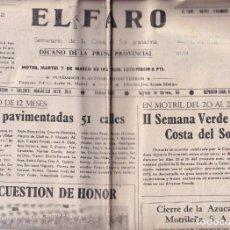 Outros: EL FARO. SEMANARIO DE LA COSTA DEL SOL. Nº 1578, 7 DE MARZO DE 1972. MOTRIL. GRANADA. Lote 177578317