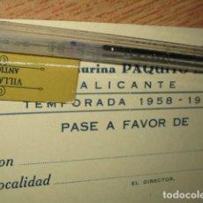 Otros: ESCUELA TAURINA PAQUITO ESPLA ALICANTE PLAZA VISTA ALEGRE PASE ABONO TEMPORFADA SIN USO1958. Lote 182760863