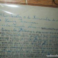 Otros: ALCANTARILLA 1950 MURCIA MANUSCRITO SECCION FEMENINA FALANGE . Lote 184790538