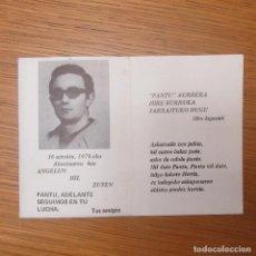 Otros: RECORDATORIO MUERTO ORGANIZACION TERRORISTA ETA, TRANSICION EUSKADI PAIS VASCO. Lote 189176901