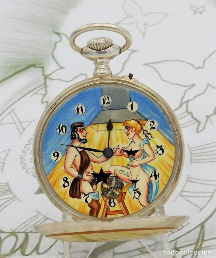 RELOJ DE BOLSILLO AUTOMATA-ERÓTICO-PINTADO A MANO-CIRCA 1880-1890-FUNCIONANDO (Coleccionismo para Adultos - Otros)