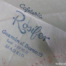 Otros: SERVILLETA CAFETERIA ROSIFER - GUZMAL EL BUENO MADRID . Lote 198393365