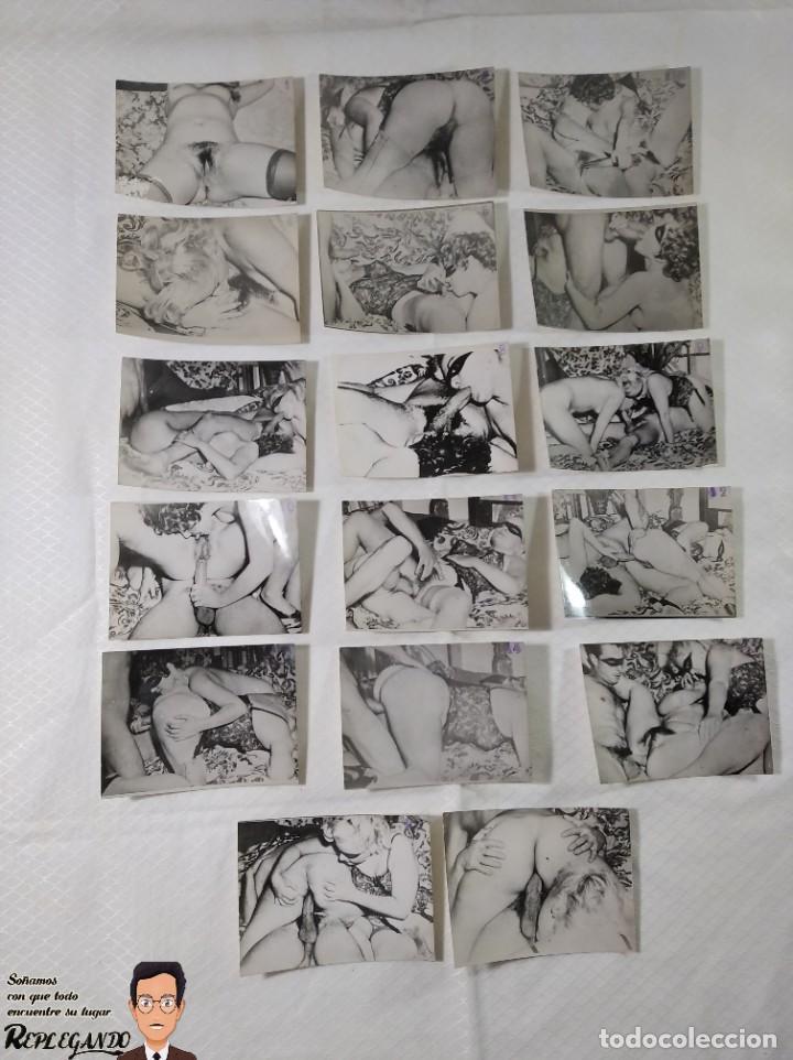 """COLECCIÓN 17 FOTOS PORNOGRÁFICAS (NUMERADAS) """"UN TRIÁNGULO"""" - AÑOS 50 (Coleccionismo para Adultos - Otros)"""
