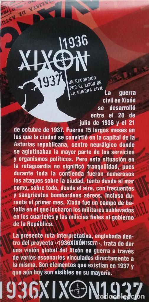 Otros: DESPLEGABLE UN RECORRIDO POR EL GIJON DE LA GUERRA CIVIL 1936 - 1937 - Foto 2 - 236028255
