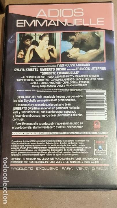 Peliculas: V.H.S. !! ADIOS EMMANUELLE / SYLVIA KRISTEL - UMBERTO ORSINI / RCS-1984 / BUENA CALIDAD. - Foto 3 - 157821770