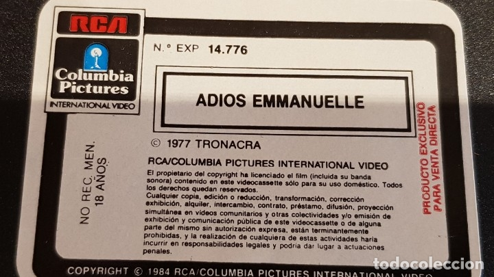 Peliculas: V.H.S. !! ADIOS EMMANUELLE / SYLVIA KRISTEL - UMBERTO ORSINI / RCS-1984 / BUENA CALIDAD. - Foto 7 - 157821770