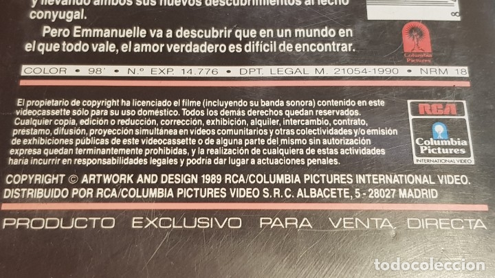 Peliculas: V.H.S. !! ADIOS EMMANUELLE / SYLVIA KRISTEL - UMBERTO ORSINI / RCS-1984 / BUENA CALIDAD. - Foto 6 - 157821770