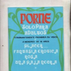 Revistas: REVISTA PORNO PORME Nº 2. PLACER... FANTASIA EROTICA ROSA UNA PAJA NEGRA.. Lote 46023045