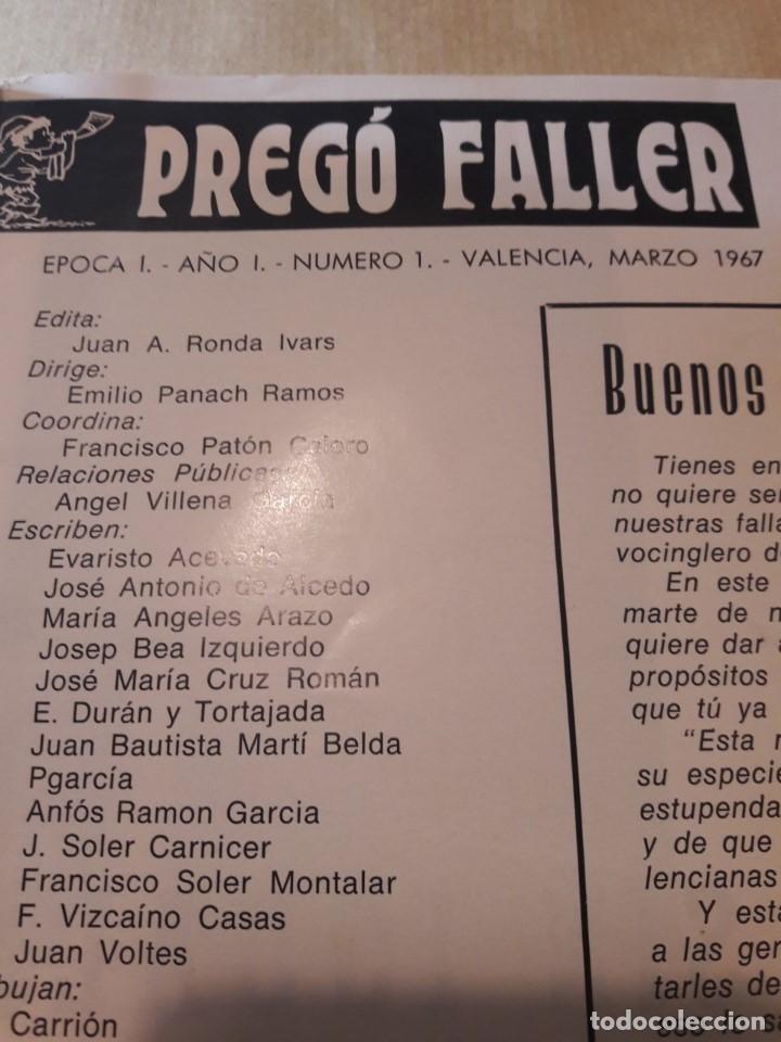 Revistas: Revista El Pregó Faller. Fallas de Valencia. Número 1 (Año 1, Época 1ª). Original de Marzo de 1967. - Foto 2 - 117328079