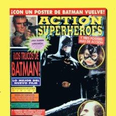 Revistas: ACTION SUPERHEROES, Nº 4 - EDICIONES ZINCO, CON POSTER DE BATMAN Y TRES MAS, 1992. Lote 123258179
