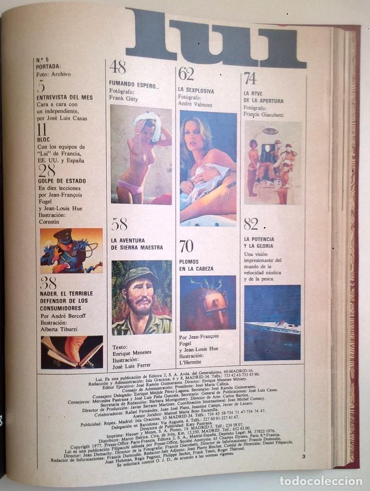 Revistas: REVISTAS LUI - TOMO CON 6 EJEMPLARES ENCUADERNADOS - NÚMEROS 1 AL 6 - AÑO 1977 - TAPA DURA - Foto 13 - 135460846