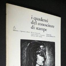 Revistas: I CUADERNI DEL CONOSCITORE DI STAMPE.Nº 20 SALOMON E AGUSTONI EDITORI 1974. Lote 205021198