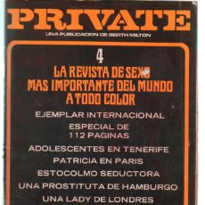 Revistas: PRIVATE Nº 4 BY BERTH MILTON. 1978. ADULT PORN CONTENT. Lote 245940835