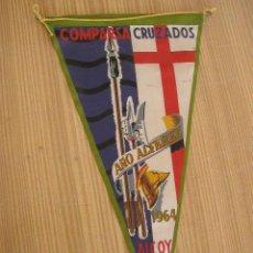 Banderines de colección: BANDERIN-ALCOY- COMPARSA CRUZADOS. AÑO ALFEREZ 1964--27CM.-. Lote 39092754