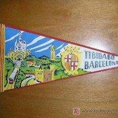 Banderines de colección: 2 BANDERINES DE BARCELONA ANTIGUOS (MONTSERRAT, TIBIDABO). Lote 26810520