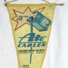 Banderines de colección: BANDERÍN ATE CARLEN LÍQUIDO PARA FRENOS AZUL AÑOS 60. Lote 53857426