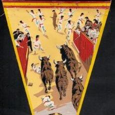 Banderines de colección: BANDERIN PAMPLONA-SAN FERMIN, BANDERIN ORIGINAL ENCIERROS SAN FERMIN AÑOS 60, MEDIDA 25 X 14CM,. Lote 24363836