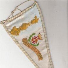 Banderines de colección: MUY ANTIGUO Y MUY RARO BANDERIN DE SEDA DE BARCELONA PINTADO A MANO . Lote 23810725