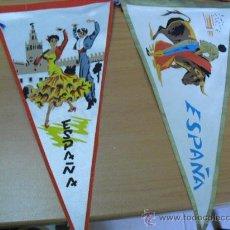Banderines de colección: 2 BANDERINES DE LA FIESTA ESPAÑOLA AÑOS 60. Lote 25049165