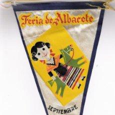 Banderines de colección: BANDERIN FERIA DE ALBACETE SEPTIEMBRE 1961. Lote 27156761