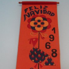 Banderines de colección: BANDERIN EN FIELTRO NAVIDAD 1.968 - PUBLICIDAD DE TAPICERIAS GANCEDO. Lote 29278018