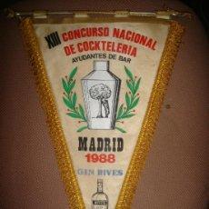 Banderines de colección: ANTIGUO BANDERIN DE CONCURSO NACIONAL DE COCKTELERIA, MADRID. 1988. Lote 32368407