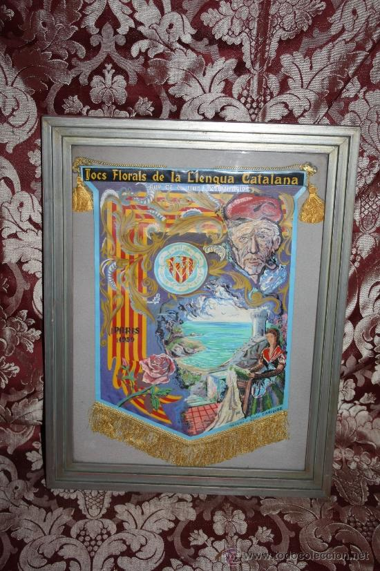 K2-004. BANDERÍN DELS JOCS FLORALS DE LA LLENGUA CATALANA A PARÍS 1959 FIRMADO ENRIQUEZ (Coleccionismo - Banderines)